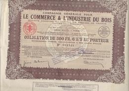 LOT DE 5 OBLIGATIONS DE 500 FRS -COMPAGNIE POUR LE COMMERCE ET L'INDUSTRIE DU BOIS -1929 - Industrie