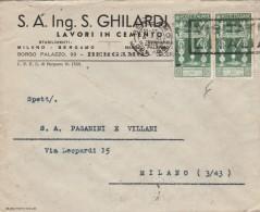 LETTERA 1938 CON 2X25 CENT. AUGUSTO - TIMBRO BERGAMO VISITATE MILANO (Z151 - 1900-44 Vittorio Emanuele III