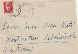 LETTERA 1945 LUOGOTENENZA CON 2 LIRE TIMBRO TREGGIAIA (Z203 - 5. 1944-46 Luogotenenza & Umberto II
