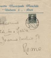 LETTERA 1928 CON 50+10 CENT CINQ. MORTE VE II - TIMBRO AQUILA-MONTECATINI (Z220 - Marcophilie