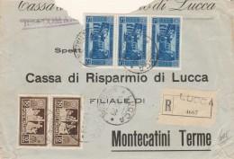 RACCOMANDATA 1929 CON 3X1,25+25 E 2XC50+10 MONTECASSINO-PARZIALMENTE STRAPPATA-FRANCOBOLLI INTEGRI (Z231 - Marcofilía