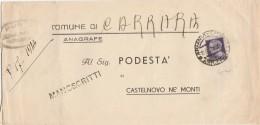 LETTERA 1945 USI TARDIVI 1 LIRE CON FASCI (Z294 - 5. 1944-46 Luogotenenza & Umberto II