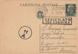 INTERO POSTALE CENT.15 CIRCA 1940 DIRETTO INCROCIATORE SAVOIA -VERUIFICA CENSURA (Z333 - Storia Postale