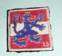Rare Ancien écusson En Tissu, Militaria Ou Autre, Lion Héraldique Couronné étoilé Avec Numéro 13 - Ecussons Tissu