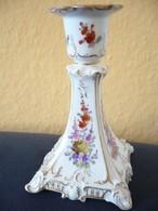 Porzellan Kerzenleuchter Mit Blumenmalerei Und Goldstaffage (583) - Dresdner Porzellan (DEU)