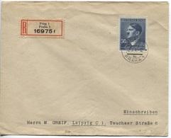 Böhmen Und Mähren MiNr. 110 Einzelfrankatur Einschreibebrief 12.10.1942, Höchstwert 50 Kronen! - Böhmen Und Mähren