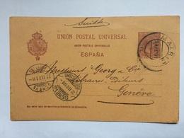SPAIN - 1901 Stationary Card - Madrid To Geneva To Switzerland - 1889-1931 Kingdom: Alphonse XIII
