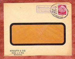 Brief, EF Hindenburg, Perfin Firmenlochung K&C, PSST Rotenbachwerk Neuenbuerg, Bahnpost Wildbad Pforzheim 1935 (56919) - Storia Postale