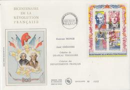 Enveloppe  FDC  FRANCE  Grand  Format  1er  Jour    Bloc  Feuillet   Bicentenaire   REVOLUTION   FRANCAISE   1990 - FDC