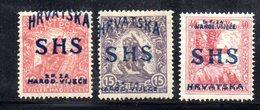 161 490 - YUGOSLAVIA SHS 1918 ,  Unificato N. 57/59  * - 1919-1929 Regno Dei Serbi, Croati E Sloveni
