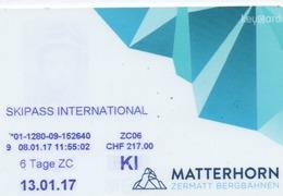 KEYCARD-SKIPASS INTERNATIONAL-MATTERHORN-SVIZZERA - Chiavi Elettroniche Di Alberghi
