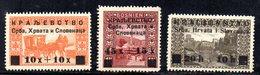 205 490 - YUGOSLAVIA SHS 1919 ,  Unificato N. 30/32  ***  MNH - 1919-1929 Regno Dei Serbi, Croati E Sloveni