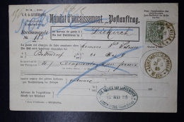 Luxembourg Mandat D'encaissement Postauftrag Mi Nr 53  1885 -> Diekirch - 1882 Allegorie