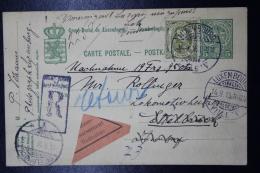 Luxembourg Uprated Einschreiben + Remboursement Postkarte  Mi 77  Luxembourg -> Ettelbruck 1916 - Interi Postali