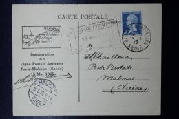 France 1er Vol Paris-Malmoe Et Retour Sur 2 Cartes Postale Avec 2x Signature De Pilote  1925 - First Flight Covers