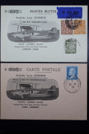 France Paris - London & London - Paris, 2 Special Illustrated,  Numbered Postcards Amphibie Schreck 1925 - Posta Aerea