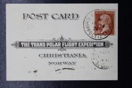 France: Carte Postal The Trans-Polar Flight Expedition 1924, A Verso Timbre De Norge  RRR - France
