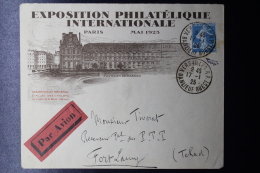 France Exposition Philatélique Paris 1925 -> Tchad, Avec Cachet Etlabel A Reverse - France