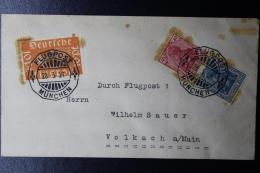 Deutsche Reich Special Probeflug Luftpost 1921 München -> Volkach  Mi 111 + Combination - Luftpost