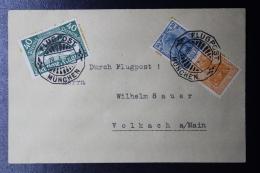 Deutsche Reich Special Probeflug Luftpost 1921 München -> Volkach  Mi 112 + Combination - Luftpost