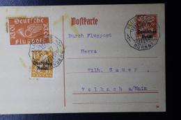 Deutsche Reich Special Probeflug Luftpost 1921 Nürnberg -> Volkach  Mi 112  Auf Postkarte P129 - Luftpost