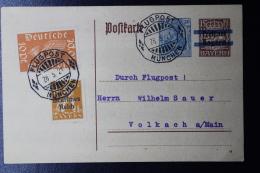 Deutsche Reich Special Probeflug Luftpost 1921 Nürnberg -> Volkach  Mi 112  Auf Postkarte P133 - Luftpost