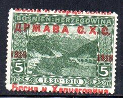 229 490 - YUGOSLAVIA SHS 1918 ,  Unificato N. 2 Nuovo ** Soprastampa Spostata - 1919-1929 Regno Dei Serbi, Croati E Sloveni