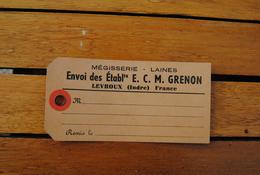ETIQUETTE POSTAL  ETABLISSEMENT ECM  GRENON MEGISSERIE LAINES LEVROUX - France