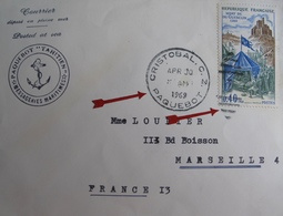 A153 - ✉️ (LSC) - CàD : CRISTOBAL (PANAMA) PAQUEBOT (1969) ZONE DU CANAL DE PANAMA > MARSEILLE - Marcophilie (Lettres)