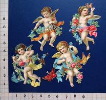 4 CHROMOS DECOUPIS      H   5 Cm      ANGES AVEC DES  PAPILLONS     FLEURS - Angels