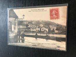 60 Creil 1911 Inondation Quai Amont, Rue Beauvois, Barque - Creil