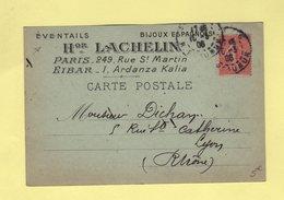 Carte Postale Privee - Eventails Bijoux Espagnols - Lachelin - Paris - 1906 - Type Semeuse - 1877-1920: Période Semi Moderne