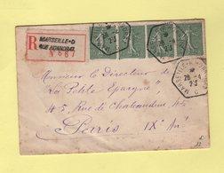 Marseille C Rue Honorat - Recommande - Type Semeuse - 28-4-1923 - 1877-1920: Période Semi Moderne
