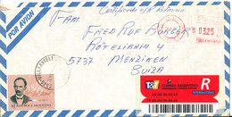 Argentina Registered Air Mail Cover With Meter Cancel And Stamp Sent To Switzerland Villa Angela 28-8-1995 Topic Stamp - Airmail