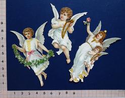 3 CHROMOS DECOUPIS    H:  8 Cm      ANGES AVEC FLEURS  HARPE - Angeli