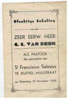 Duffel: Plechtige Inhaling Van Den ZEER EERW. HEER C.L. VAN DEYN Als Pastoor...1933 - Duffel