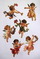 6 CHROMOS DECOUPIS CARTONNES   H:  9 Cm    ANGES  AVEC  FLEURS  LETTRE  TROMPETTE - Angeli