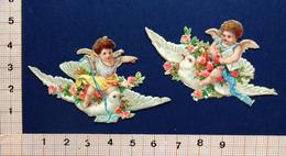 2 CHROMOS DECOUPIS    H: 4 Cm    ANGES  AVEC  FLEURS PORTES PAR UNE COLOMBE - Angels