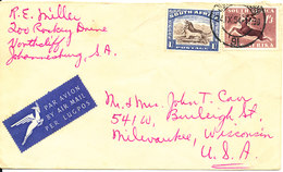 South Africa Cover Sent Air Mail To USA Johannesburg 24-9-1954 Very Good Franked - South Africa (...-1961)