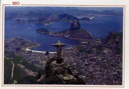 Rio De Janeiro - Brasil - Vista Aerea - Cristo Redentor E Baia De Gunabara - Formato Grande Viaggiata – E 7 - Cartoline
