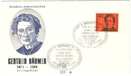 GERMANIA - GERMANY - Deutschland - ALLEMAGNE - 1974 - Bedeutende Deutsche Frauen - Gertrud Bäumer  - FDC - Bonn - FDC: Buste