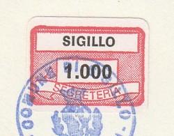 Sigillo. 1984. Marca Municipale Diritti Di Segreteria L. 1.000, Su Certificato Di Residenza. - Otros