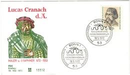 GERMANIA - GERMANY - Deutschland - ALLEMAGNE - 1972 - 500. Geburtstag Von Lucas Cranach D. Ä. - FDC - Bonn - FDC: Buste
