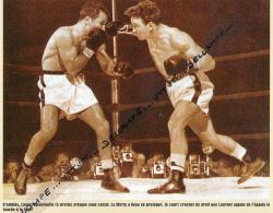 BOXE : PHOTO (1950), JACK LA MOTTA - LAURENT DAUTHUILLE, CHAMPIONNAT DU MONDE DES MOYENS, DETROIT (USA) - Boxe