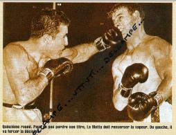 BOXE : PHOTO (1950), JACK LA MOTTA - LAURENT DAUTHUILLE, CHAMPIONNAT DU MONDE DES MOYENS, 15° ROUND, DETROIT (USA) - Boxing