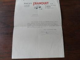 ANCIENNE FACTURE / ATTESTATION / PNEUS FRANQUET S.A  / LIEGE 1969 - Belgique