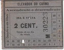 Portugal Elevador Do Carmo - Carris De Ferro Lisboa Bilhete 2 CENT. Ticket (crc 1915) - Tram
