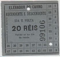 Portugal Elevador Do Carmo - Carris De Ferro Lisboa Bilhete 20 Reis. Ticket (crc 1905) - Tram