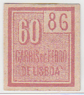 Portugal Carris De Ferro De Lisboa - Horse Drawn Tram Ticket 60 Reis (crc 1875) - Tramways