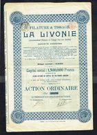 Filature & Tissage LA LIVONIE S.A. - ACTION ORDINAIRE N° 05188 - 1923. - Textile